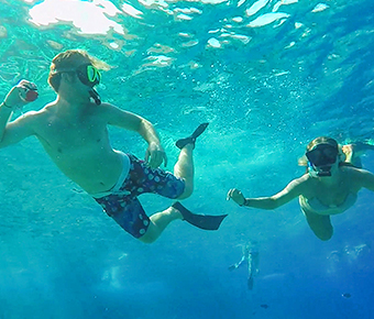 Snorkelers at Molokini Crater