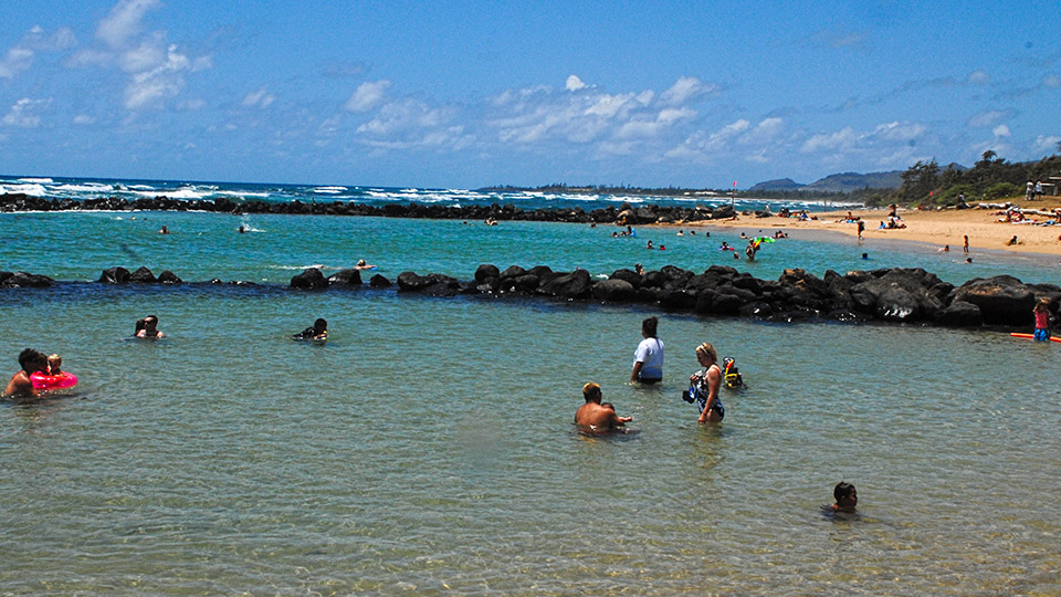 Swimmers at Poipu Beach Park