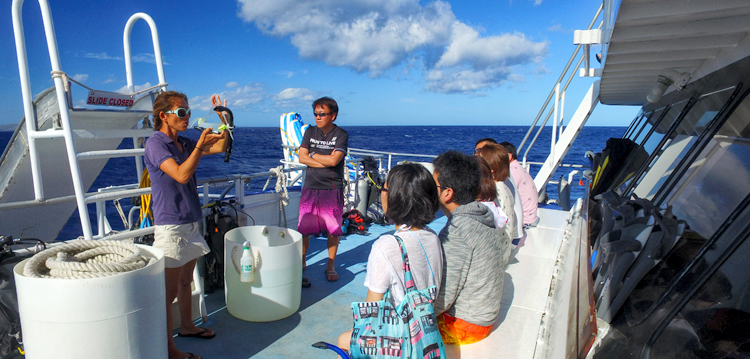 pride of maui guide explaining basic safety to a tour group