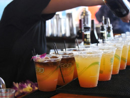 rows of tropical cocktails being prepared for the guests aboard the pride of maui boat