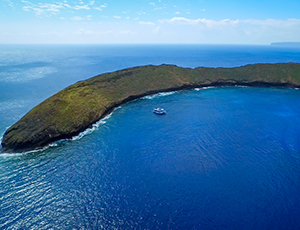 The Pride of Maui at Molokini Crater with no other boats.