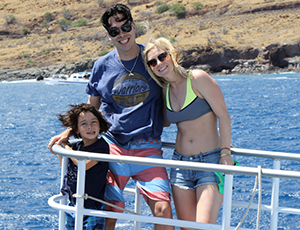 Young family on the bow of the Pride of Maui.