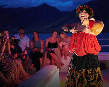 Hawaiian Polynesian Dance on Maui Susnet cruise